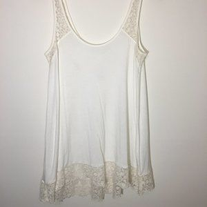 Women's White Lace Trimmed Tank